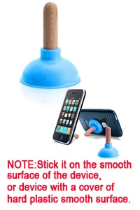 It's called Plunger Sucker Stand. the funky stand consists of a rubber sucker and a wooden stick, and looks really a mini actual toilet plunger. The stand measures 4.5 cm long, and can fit for iPhone, iPhone 4, other cell phones, remote control, and many other gadgets. Sit back and enjoy your movie on you mobile phone with Plunger Sucker Stand.
