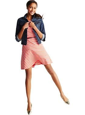 Fit & flare belted ponte dress with a cropped denim jacket and pointed ballet flats