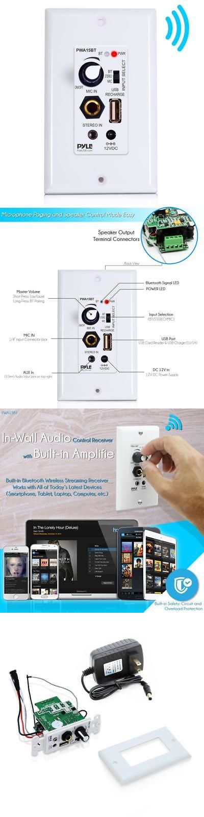 Home Theater Systems: New Pyle Bluetooth In-Wall Receiver, Wall Plate Audio Control Amplifier Usb Port -> BUY IT NOW ONLY: $49.69 on eBay!