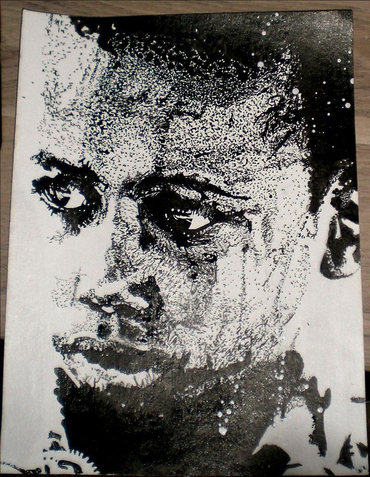 Le Garçonnet Portrait à l'encre de chine. Outils : Pinceau et cure-dent Support : Papier coton/bambou