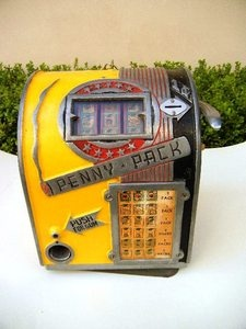 1920s-30s slot machine style vending machine, dispensed gum