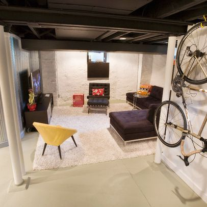 """Love painted out ceiling and inexpensive approach to """"finished basement"""" space Duncan Avenue Basement Renovation - modern - basement - cincinnati - Ryan Duebber Architect, LLC"""