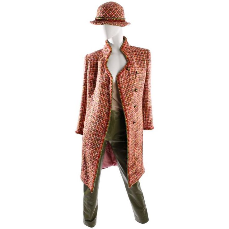 2001 chanel coat boucl hat and leather pants pinkgreen from a