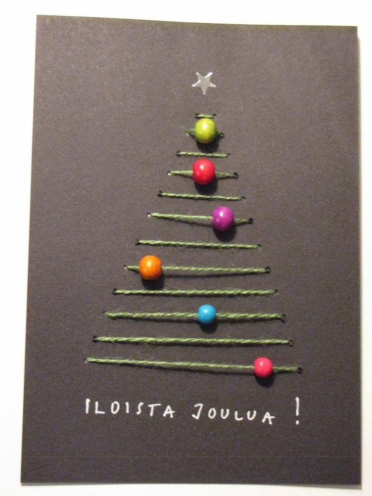 Tein jouluksi tällaisia joulukortteja, joihin sain idean Pinterestistä. Näitä oli tosi hauska tehdä! Kokeilin näihin erilaisia l...