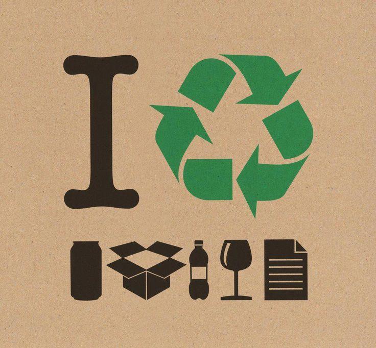 """Logo de una campaña.  Sintáctica: Presenta imagenes de objetos reciclables, junto a las flechas del reciclaje en color verde acompañada de una I   Semántica: La imagen es cercana ya que simula el tipico """" I <3 ... """"   Crítica: Me parece que está bien construido y el mensaje se entrega"""