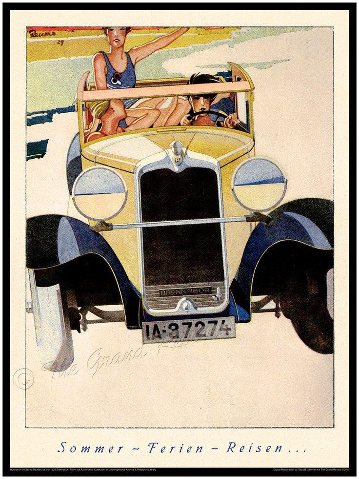 1920s Car Print - German Girls At The Beach In Their 1929 Brennabor - Incredible Beach Buggy - Jazz Age Flappers - Sommer - Ferien - Reisen