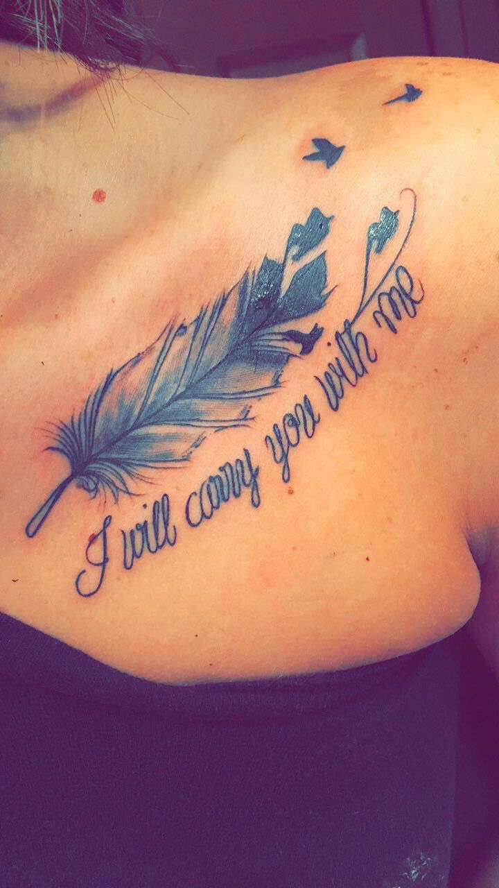 Collar bone tattoo #feather #memorialtattoo