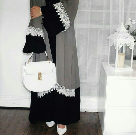 Chic Abaya ...love the colour and design with the white lace.