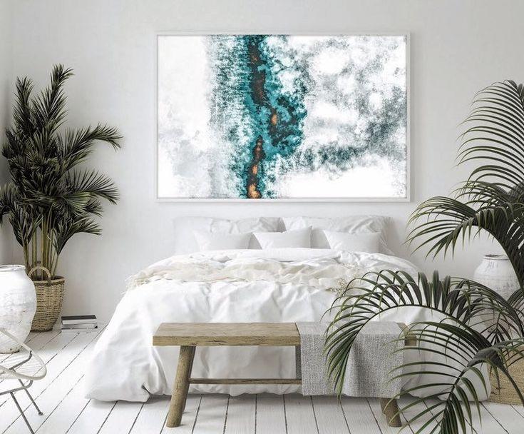 Teal Abstract Print Wall Art | Abstract Art Print | Bedroom Wall Art | Wall Art Living Room | Abstract Metal Art | Lavish Temple | Abstract