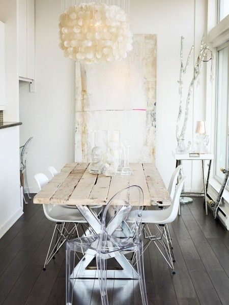 Love the mix of the chrome x base on the table mixed with raw antique wood top, high low mix
