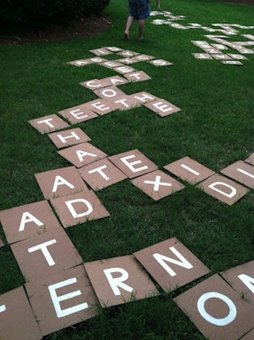 Bananagrams is great, but GIANT BANANAGRAMS is best. | 27 Creative And Inexpensive Ways To Keep Kids Busy This Summer