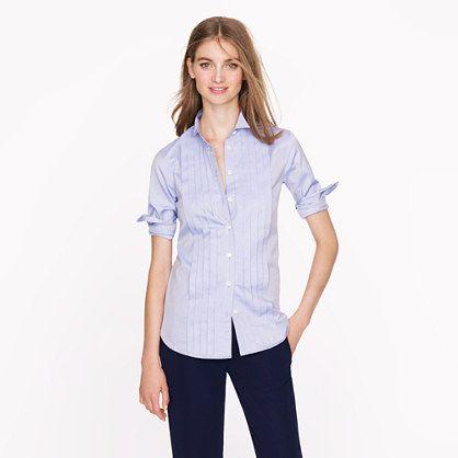 Thomas Mason® for J.Crew tuxedo shirt in blue - Suiting Shirts - Women's suiting - J.Crew