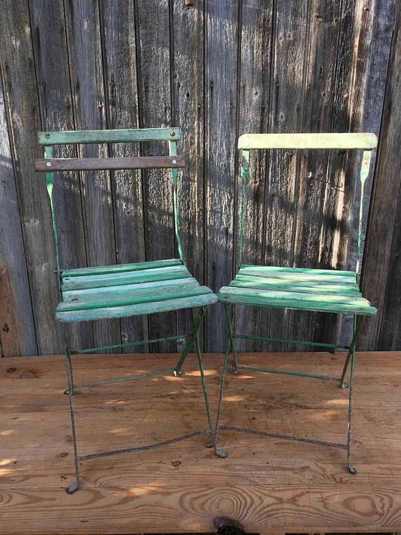 2 Chaises De Jardin Pliantes Vintage Siege Vert En Bois Et En Metal Vers 1950 Chaises De Bistro Vintage Folding Garden Chairs Patio Chairs Wood Patio Chairs
