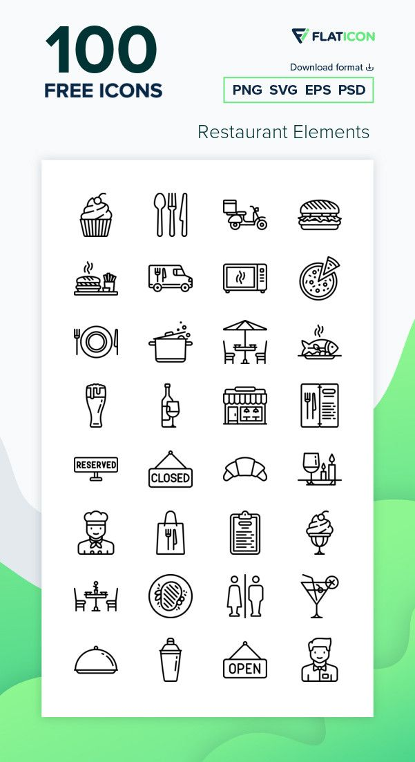 100 Free Vector Icons Of Restaurant Elements Designed By Freepik Vector Free Icon Free Icon Packs