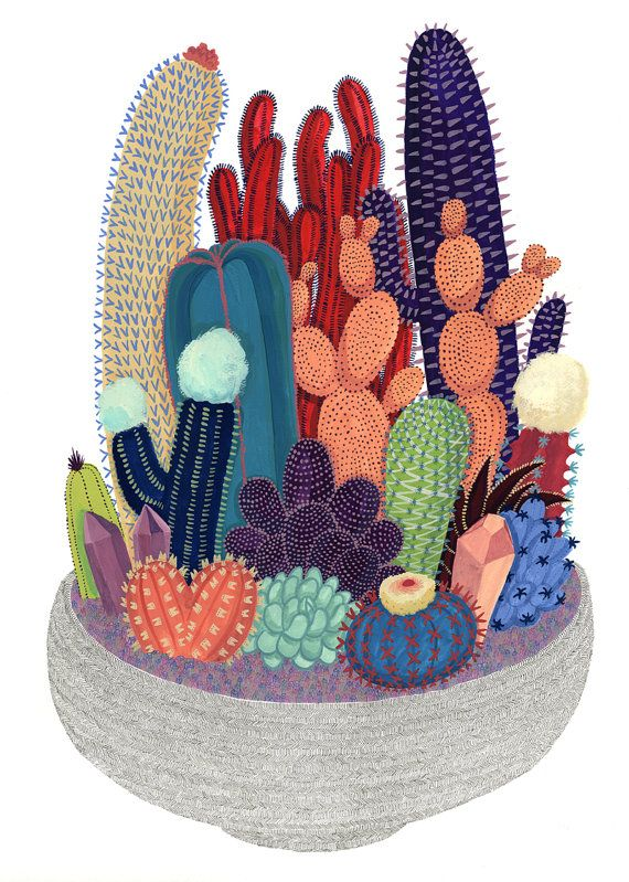 Crystal Cactus Print by CactusClub on Etsy, $20.00