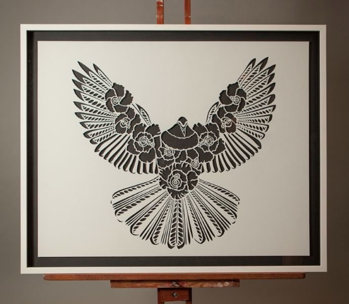 PEACE DOVE IN THE CUT | Handcut Stencil: By commission | Flox.co.nz