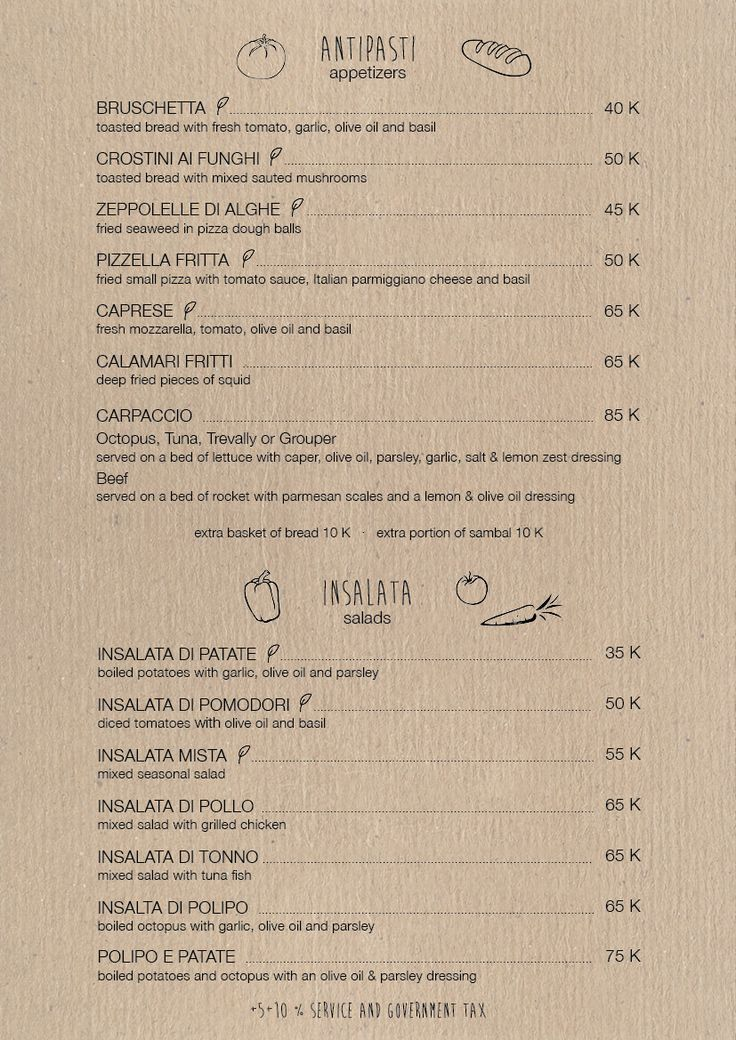 Gili Asahan Eco Lodge Nautilus Menu Italian Food