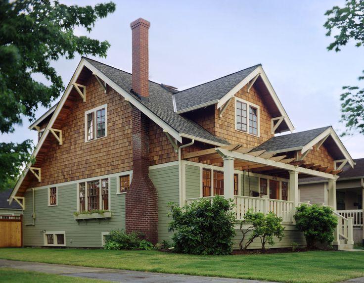 cedar shake vinyl siding Exterior Traditional with casement windows divided lights entry porch grass