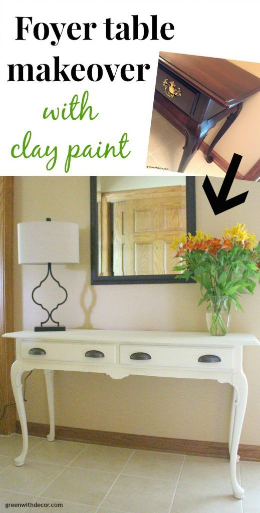 Check out this Queen Anne foyer table makeover with clay paint! I can't believe how easy this painting process is, and this white paint is so pretty. It really brightens up this foyer.