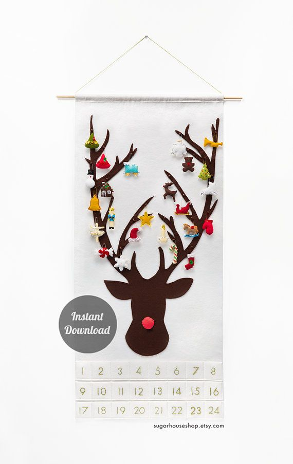 """Advent Calendar Pattern PDF - Christmas Felt Decoration - Rudolph the Red-Nosed Reindeer - """"Dashing Through the Snow with Shapes"""""""