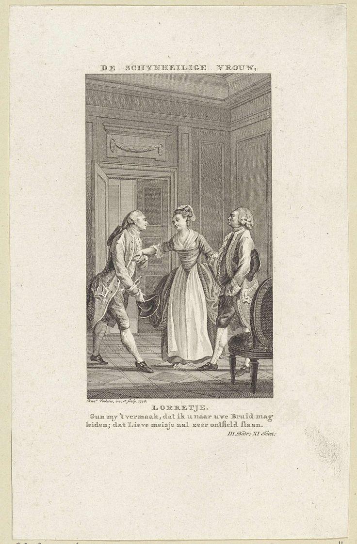 Twee mannen en een vrouw in gesprek, Reinier Vinkeles, 1778