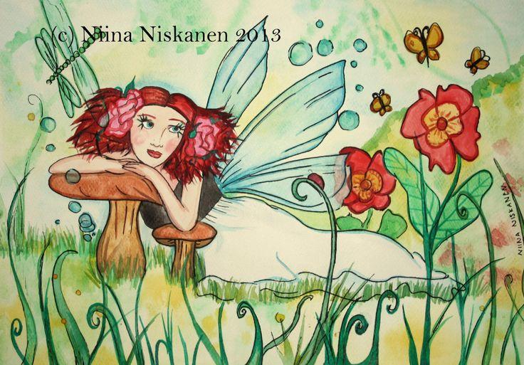 Original Fairy Illustration Summer Sparkle Fairy Painting Watercolor Summer Fairy Fantasy Flowers Dragonfly Fantasy Art