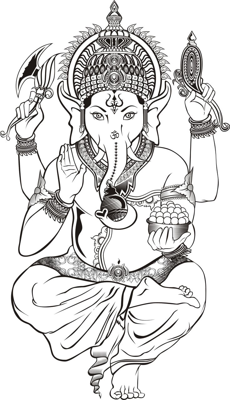 Gaja Hindu Elephant coloring page - Google Search