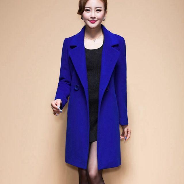 2016 Yeni Moda Kadın Kat Yün High-end Zarif Uzun İnce Kadınlar Kış Ceket Kraliyet Manto ve Ceketleri Artı boyutu Femininos M-4XL