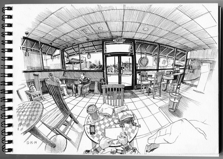 https://flic.kr/p/ptQCWY | Starbucks on North Wadsworth, Denver | Microns in Strathmore drawing pad  This piece is a drawing of a coffee shop, showing a sort of fish eye perspective with the door at the center of the perspective and everything bending in perspective towards it. What interests me about this drawing is the perspective and the way everything is warped, it gives a unique sense of perspective that gives a feeling of floating in the location.
