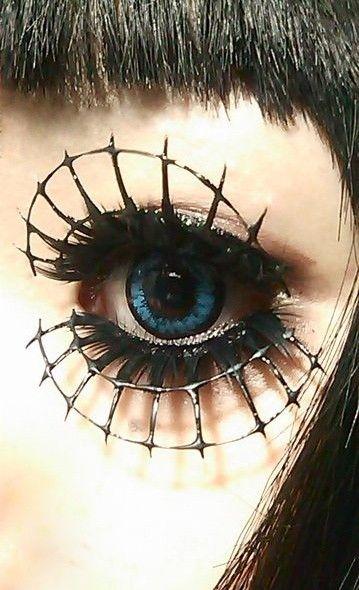 Goth:  #Hair & #Makeup ~ Spiderweb eyes.                                                                                                                                                      もっと見る