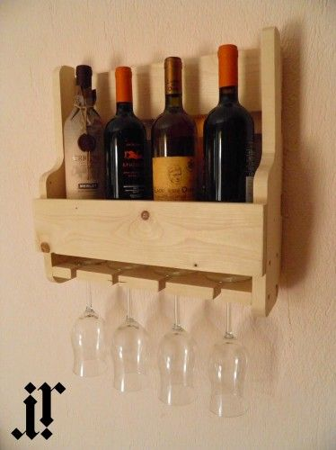 Wine rack for 4 wine bottles and 4 glasses