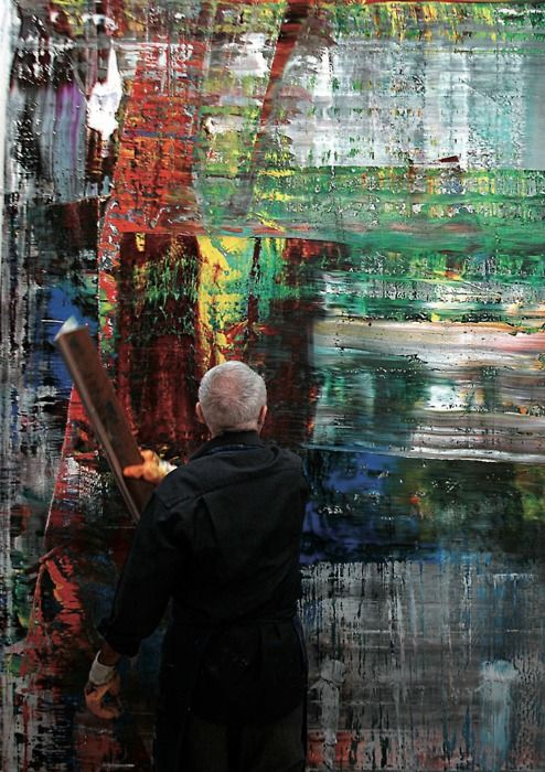 Gerhard Richter : art in the making... love to watch documentaries of him painting with the squeegee