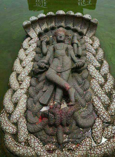 28/08/17, 3:07:25 PM: Arul: Floating statue of Lord Vishnu...1300 years old...It's in BUDHDHANIKANDHA 9 kms frm Kathmandu's, Nepal. Made from a single stone it's 14 ft high. Its considered a miracle as it is floating on water for more than 1300 years....