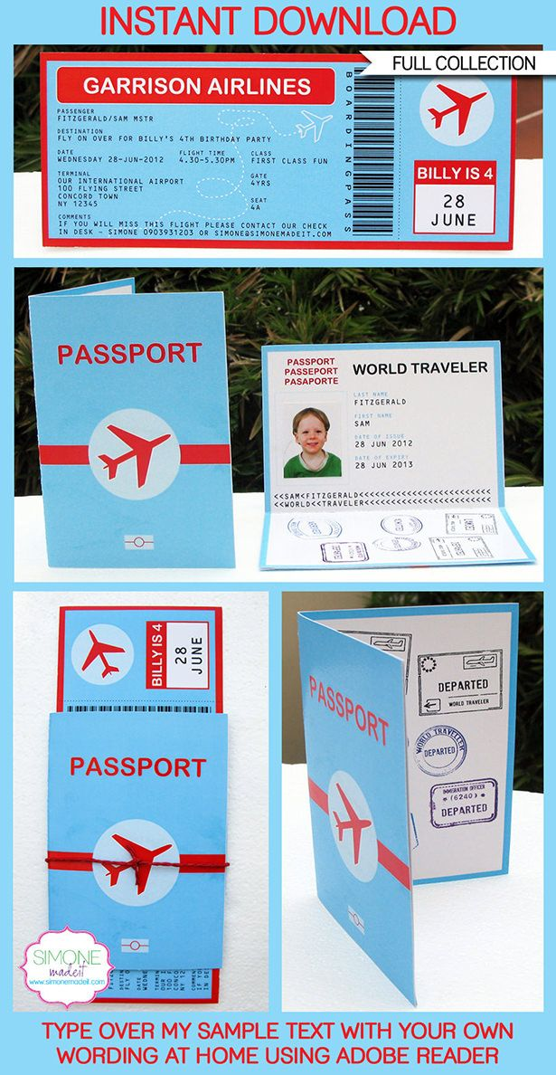 Airplane Party Printables, Invitations, Decorations | Luggage Tags | Passport | Boarding Pass | Airport Signs | Birthday Party | Editable DIY Theme Templates | INSTANT DOWNLOADS $12.50 via SIMONEmadeit.com