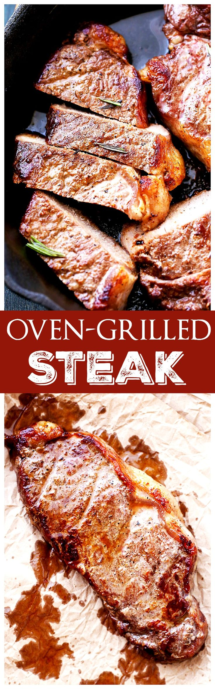 Oven Grilled Steak – Delicious, tender, and juicy thick-cut steak grilled in the oven!