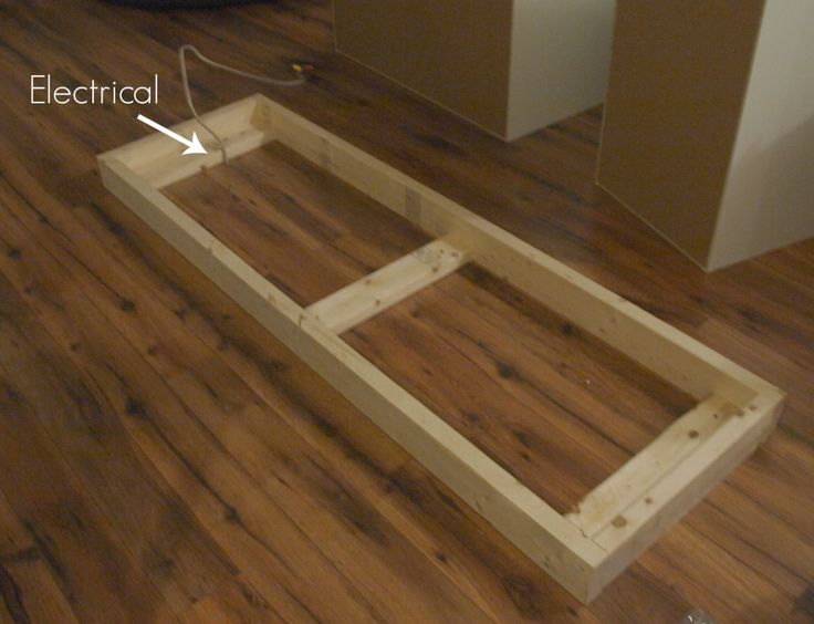 Building a custom microwave cabinet home i heart for Build custom kitchen cabinets