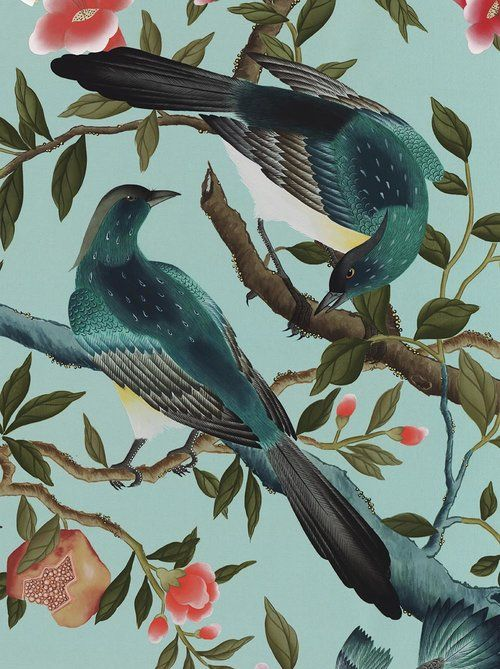 £45 Chinoiserie art print in turquoise blue by Diane Hill Design. Inspired by Hand-painted silk wallpaper designs. The birds and flowers have been meticulously hand-painted with the finest detail. Take a look online to purchase this beautiful print from £45.