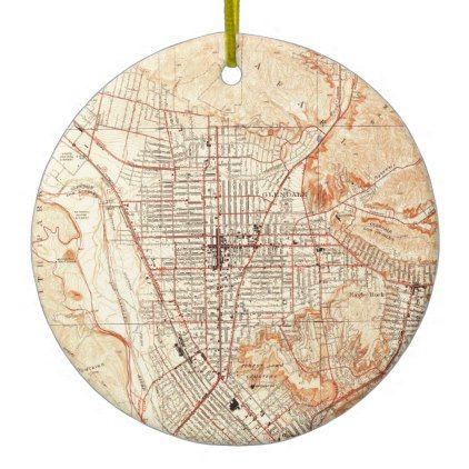 Vintage Map of Glendale California (1928) Ceramic Ornament - home gifts ideas decor special unique custom individual customized individualized