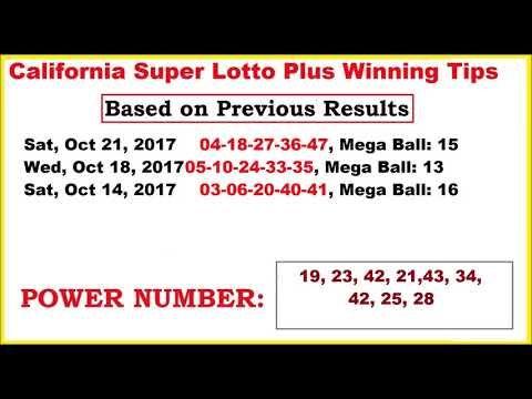 California Super Lotto Plus Winning Tips for October 25, 2017 - http://LIFEWAYSVILLAGE.COM/lottery-lotto/california-super-lotto-plus-winning-tips-for-october-25-2017/