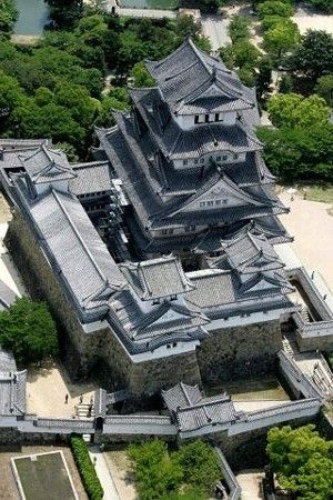 Aerial view of Himeji castle, Hyogo, Japan 姫路城 大天守を三国堀上空から