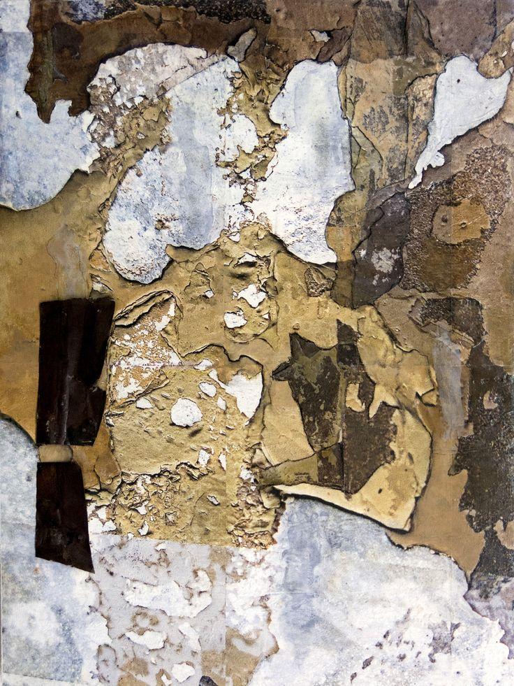 L'usure du temps. Techniques mixtes.  Composition numérique  transférée sur bois,  pièce de métal, clous. Format 40 X 30