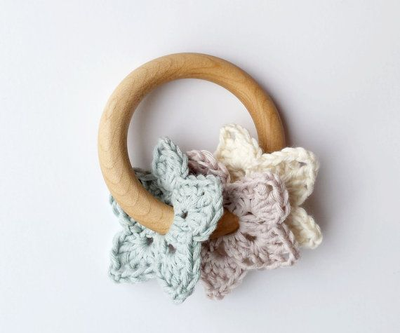 Organic Baby Teething Ring Natural wooden childrens Toy by UrbanSpool on Etsy