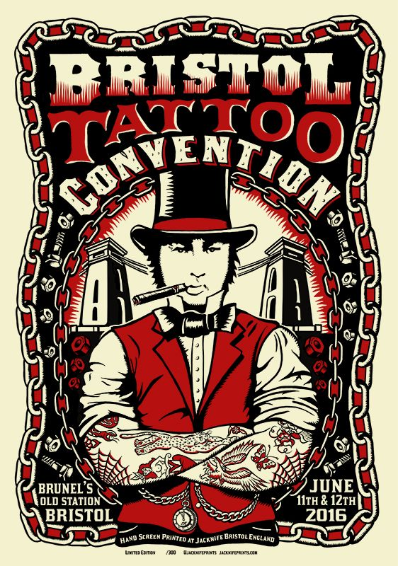 'Bristol Tattoo Convention 2016' Poster: 2 Colour Screenprint