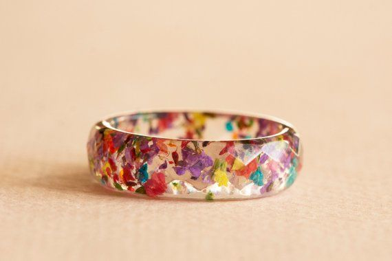 Thin Resin Ring with Yellow Purple Queen Annes Lace Flowers