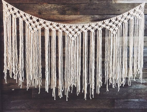 the ABIGALE | large yarn macrame wall hanging | macrame curtain | backdrop | statement piece | headboard | bohemian | hippie | nursery decor