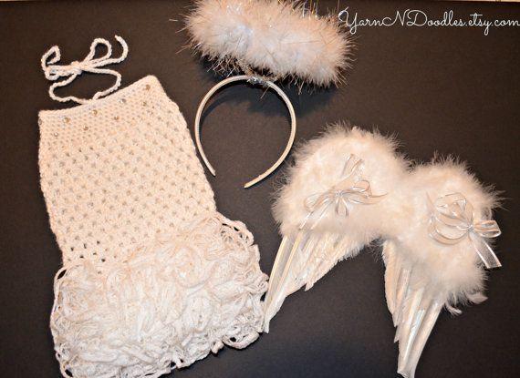 Baby Girl Angel Costume Ruffle Romper Halo Wings by YarnNDoodles, $98.99