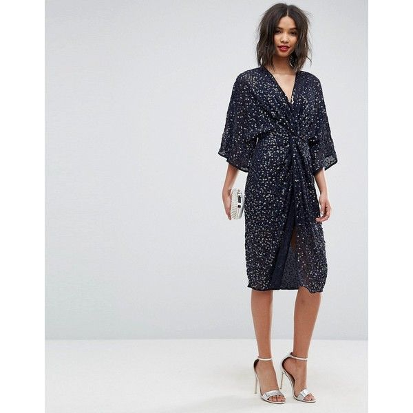 ASOS Sequin Kimono Midi Dress (77,660 KRW) ❤ liked on Polyvore featuring dresses, navy, navy cocktail dress, navy blue dress, sequined dress, long-sleeve mini dresses and navy dresses