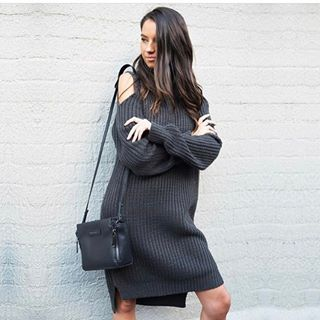 🔥RESTOCK ALERT🔥 we have restocked the Style State Cold Shoulder Knitted Dress in Charcoal! 😍 available online and in store. www.trickstarco.com.au #fashion #knitwear #cute