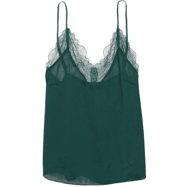 Love Stories 'Camelia' lace trim camisole ($71) ❤ liked on Polyvore featuring intimates, camis, green, lacy camisole, lace trim camisole, lace trim cami, green cami and lace camisoles