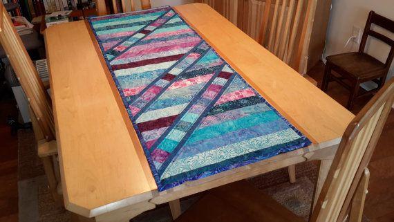 Blue Batik Contemporary Table Runner  by BatiksBySandcastle